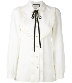 white pleated trim blouse