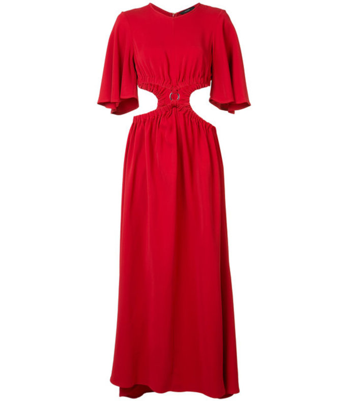 red cut-off waist long dress
