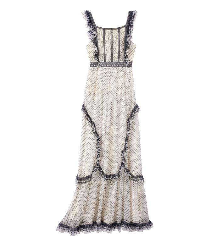 white & black crinkled chiffon printed dress