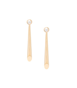 gold falless metal bar earrings