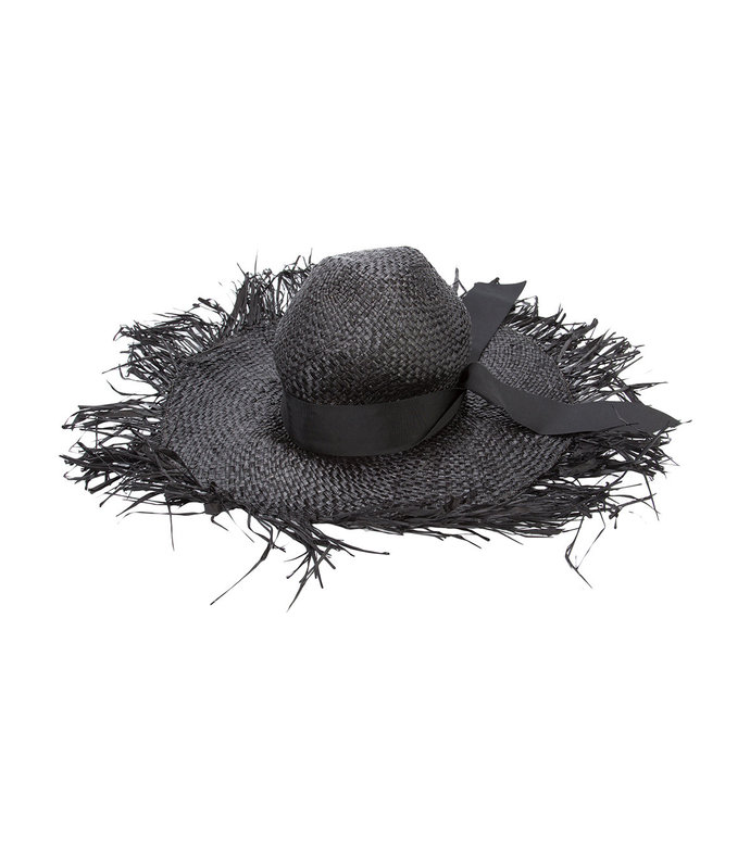 black distressed sun hat
