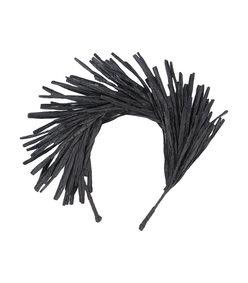 black natural fringed hairband
