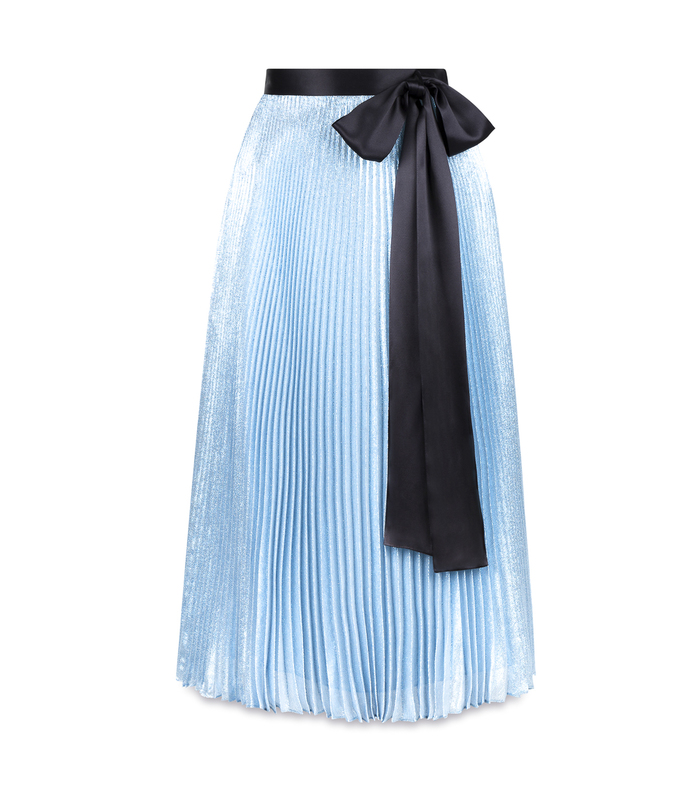 blue lame pleated skirt