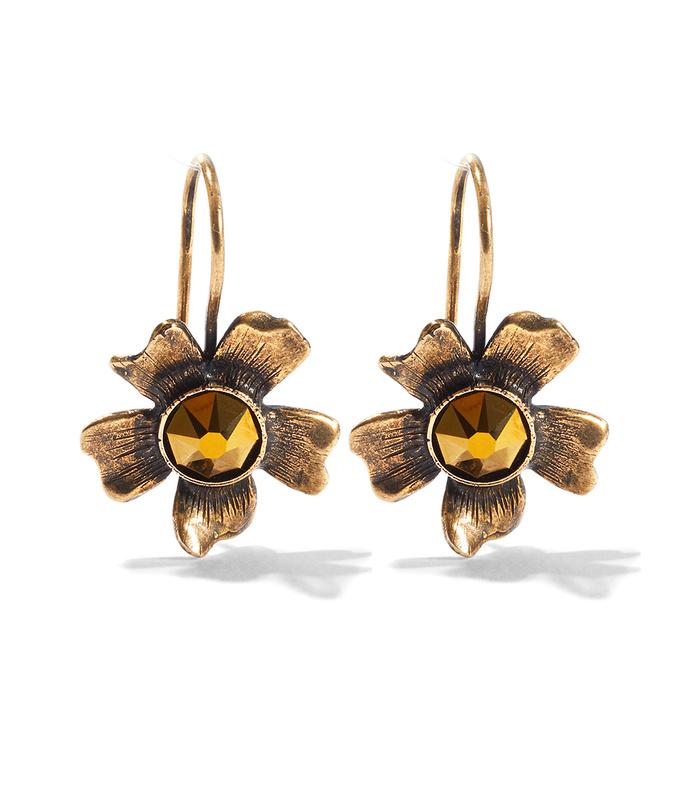 brass flower aster earrings
