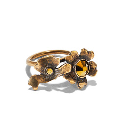 floral brass crystal ring