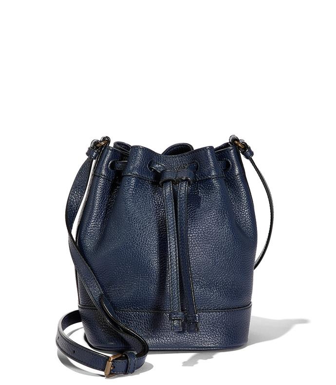 navy small bucket bag