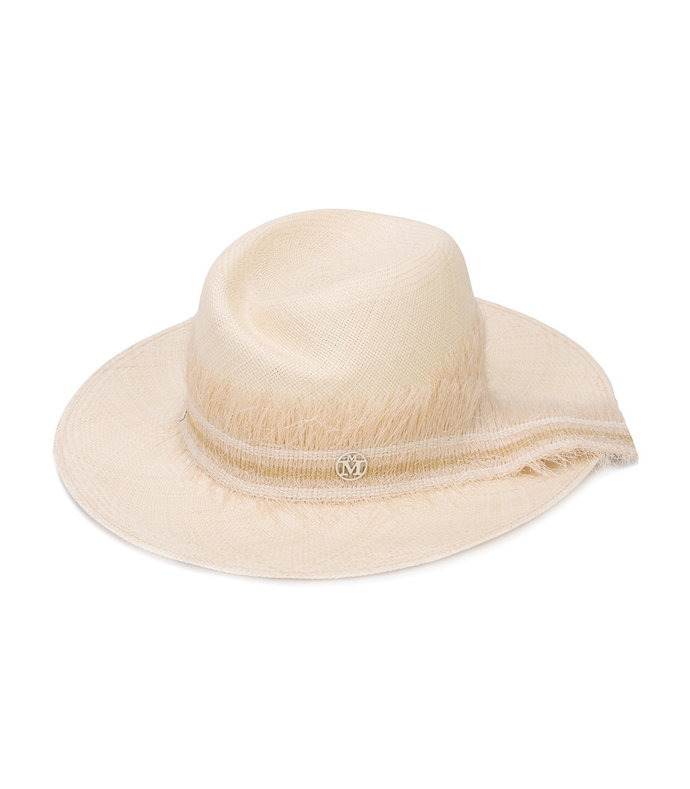 nude frayed trim fedora hat
