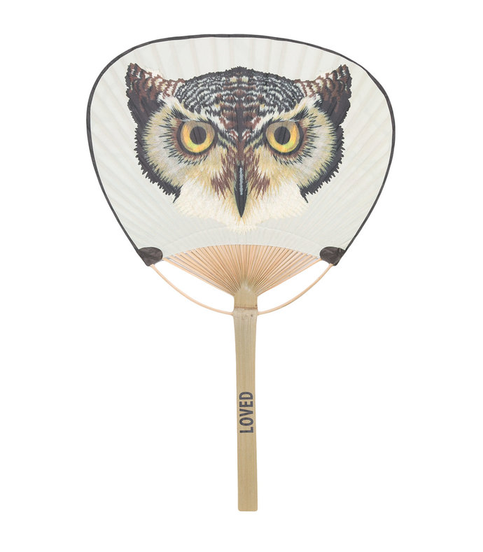 white owl print fan