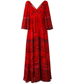 red 'landscape' border dress