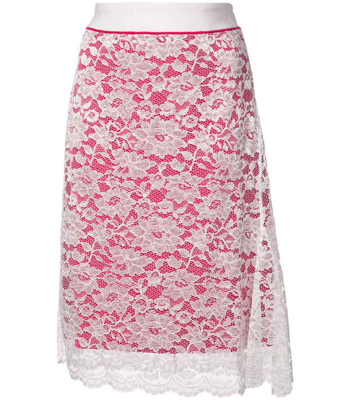 pink lace detail skirt