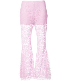 pink flared lace trousers