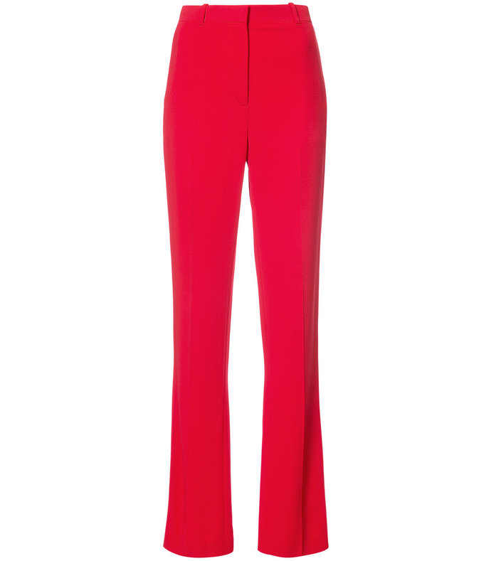 red tailored straight leg trouser