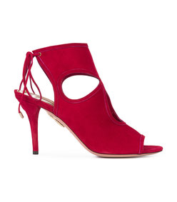 red ankle length sandal