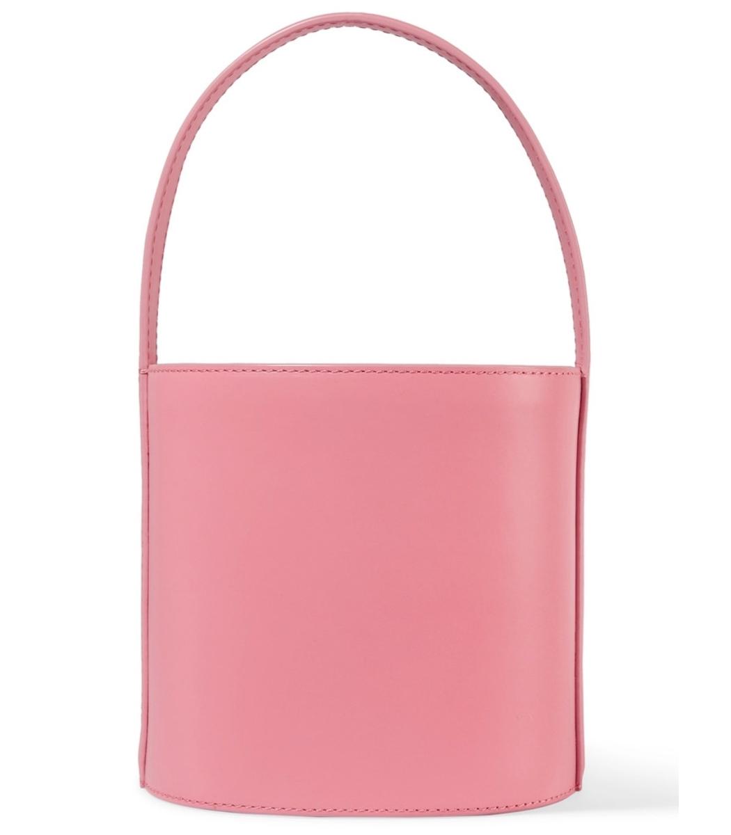 Pink Bissett Leather Bucket Bag
