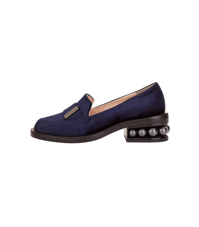 navy casati pearl moccasin loafer