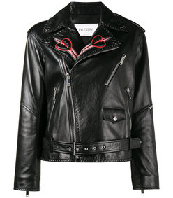 black love blade embroidered leather jacket