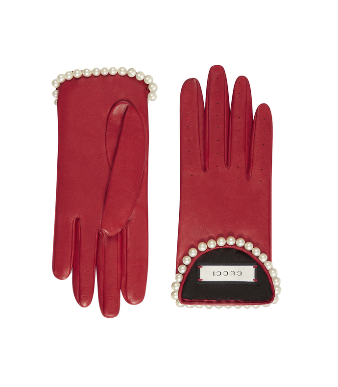 red leather gloves with pearls