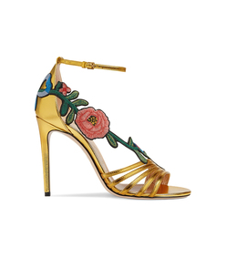 gold embroidered metallic sandal