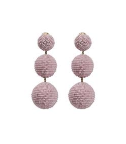 pink classic 3 drop beaded earrings