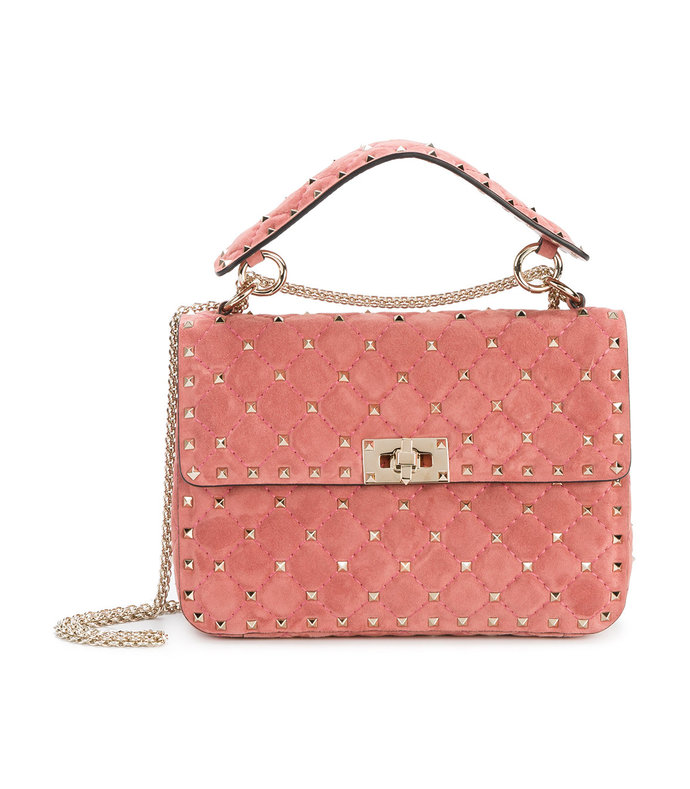 pink medium rockstud shoulder bag
