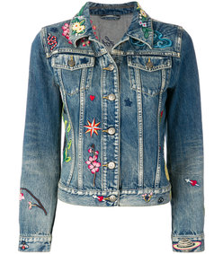 blue embroidered denim jacket