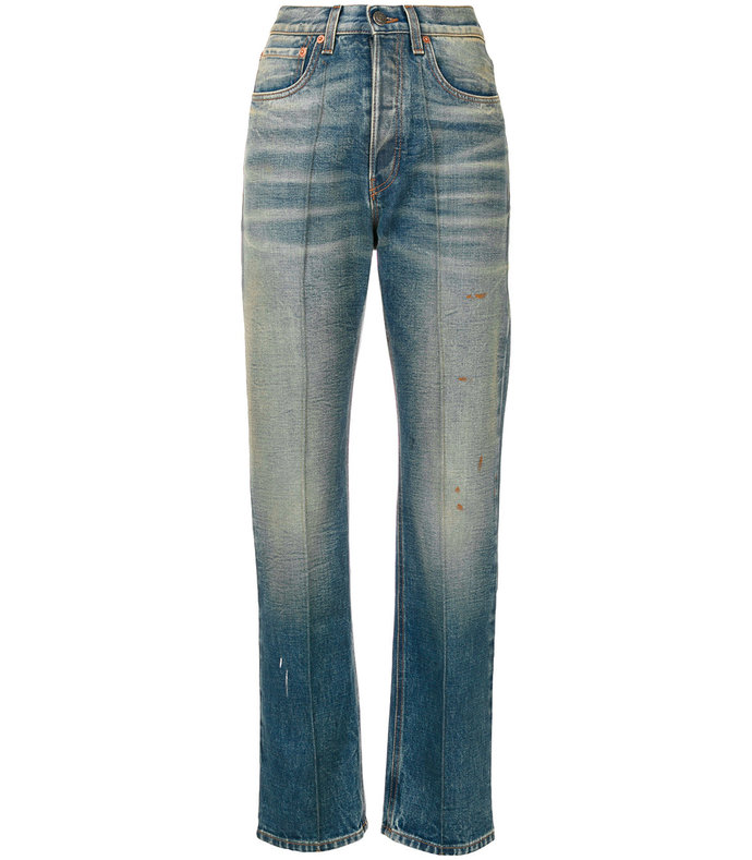 Blue Embroidered Faded Jeans 959001294622407354