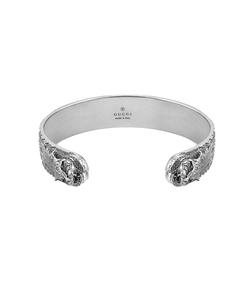 silver feline head bracelet