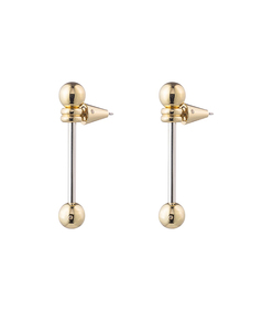 gold sliding barbell earring