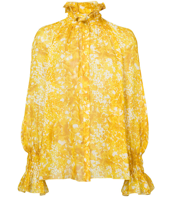 yellow silk georgette shirt