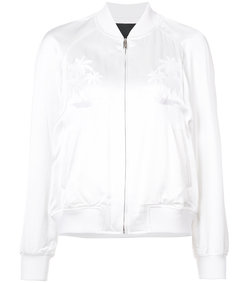 white palm tree embroidered bomber jacket