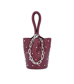 red stud detailed leather bag