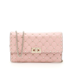 pink rockstud chain bag