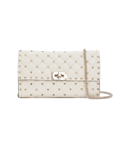 white rockstud spike chain bag