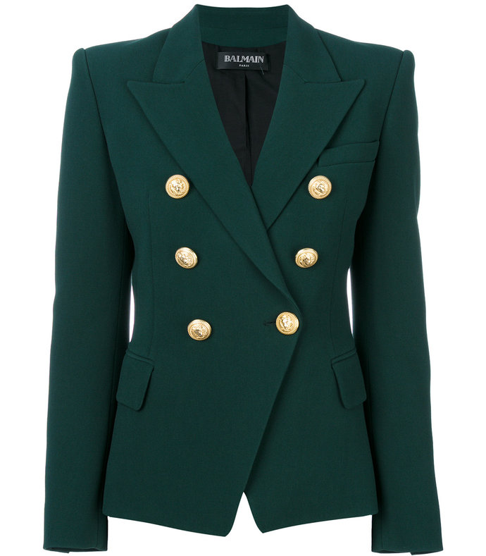 dark green double breasted blazer