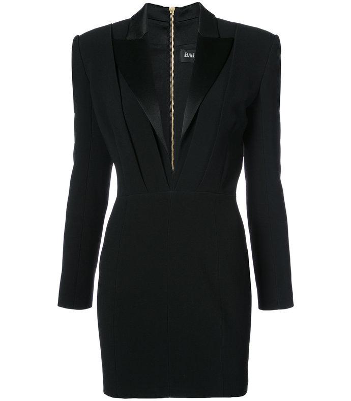 black tuxedo mini dress