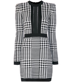 black/white pepita houndstooth dress