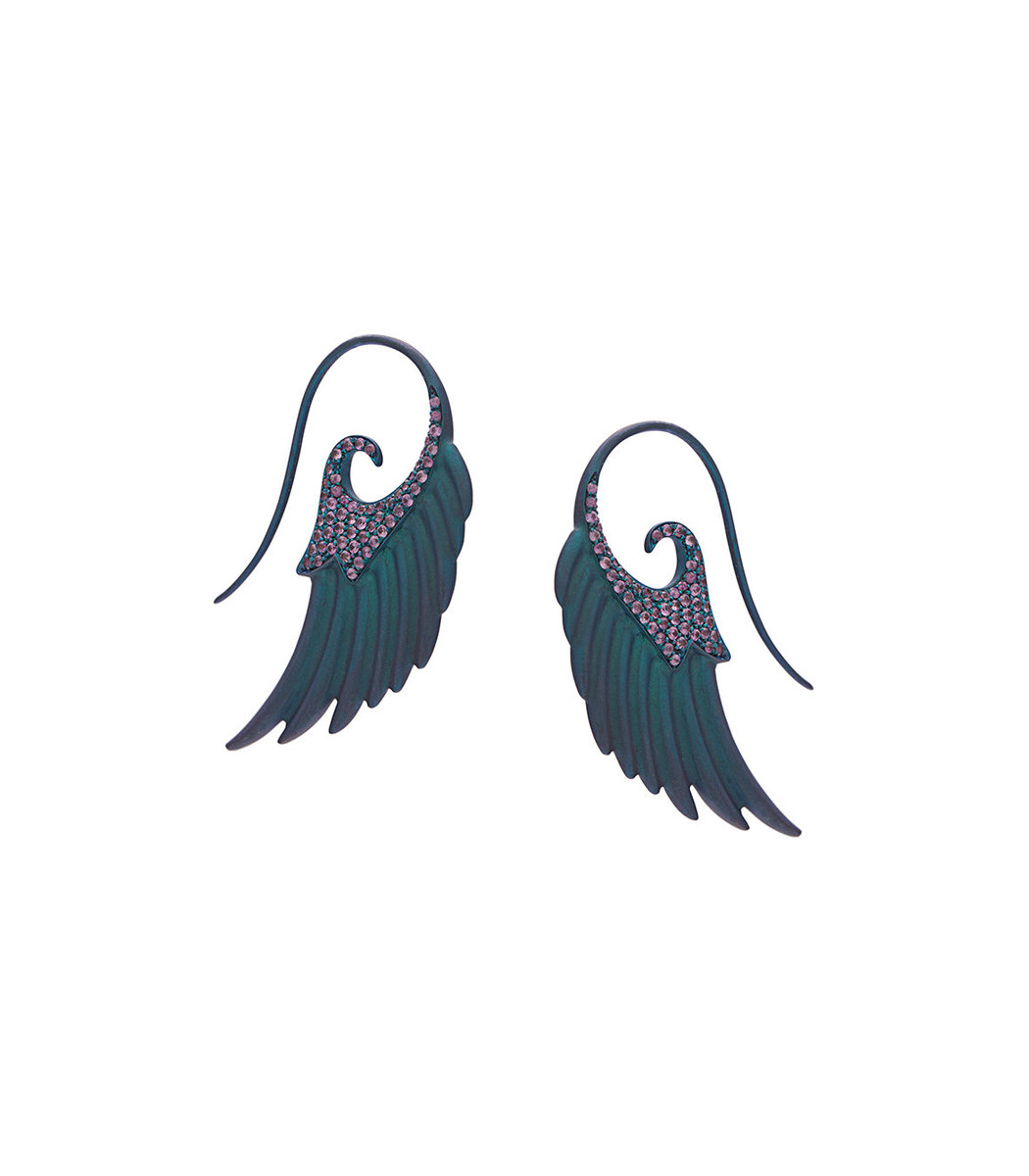 NOOR FARES Blue Fly Me To The Moon Earrings