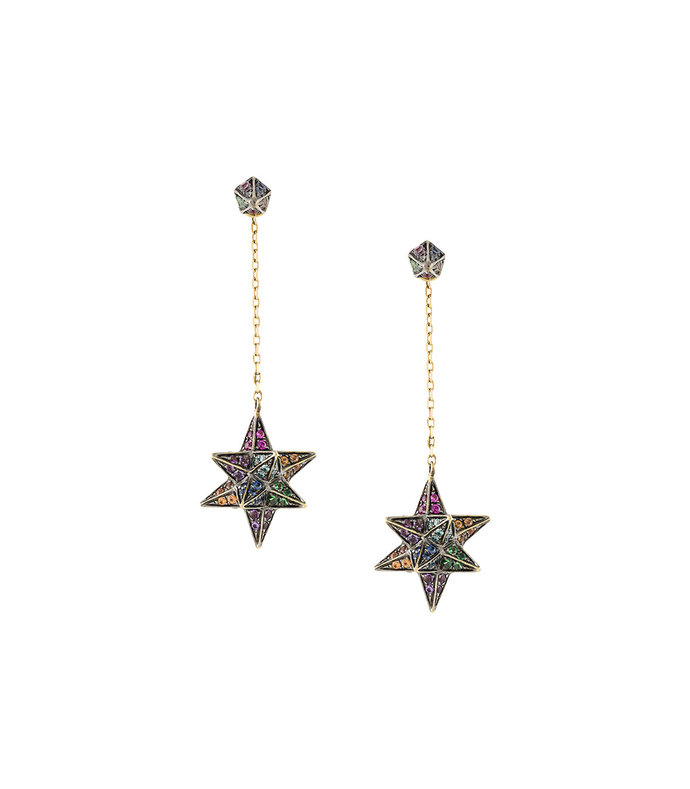 gold merkaba cone dress earring