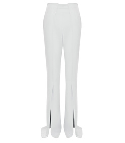 stretch-crepe flared pants with ankle slit