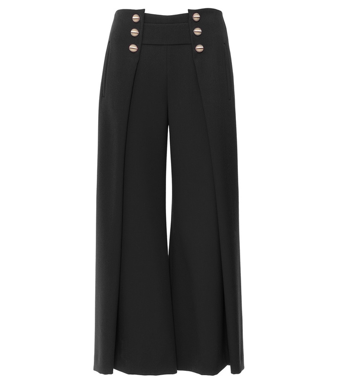 black culottes with buttons at the waist