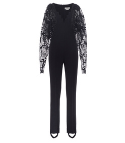 black cady crepe jumpsuit with lace sleeves