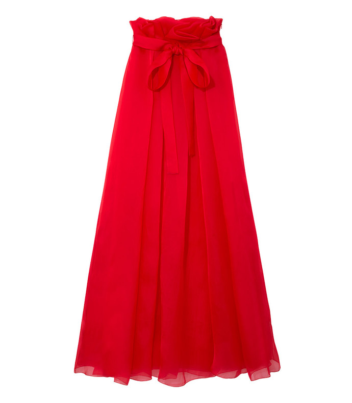 red silk maxi skirt