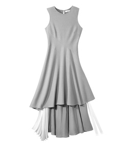 dove grey cascade pleated dress