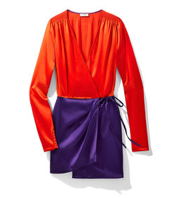 orange & purple satin mini robe dress