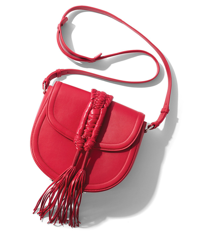 red 'ghianda' saddle knot bag
