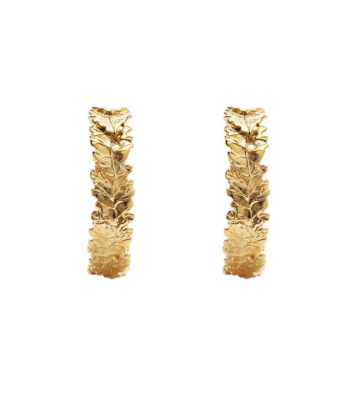 gold oak leaf hoop earrings