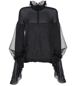 satin organza blouse with peplum sleeves