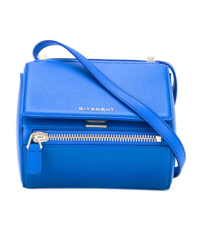 blue mini 'pandora box' shoulder bag