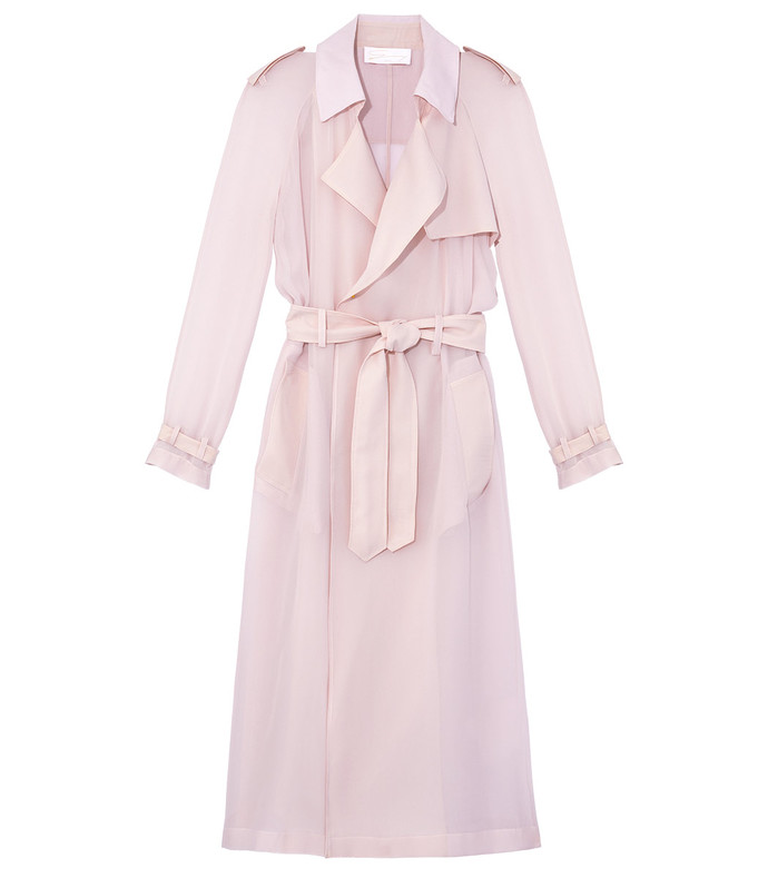soft pink trench coat