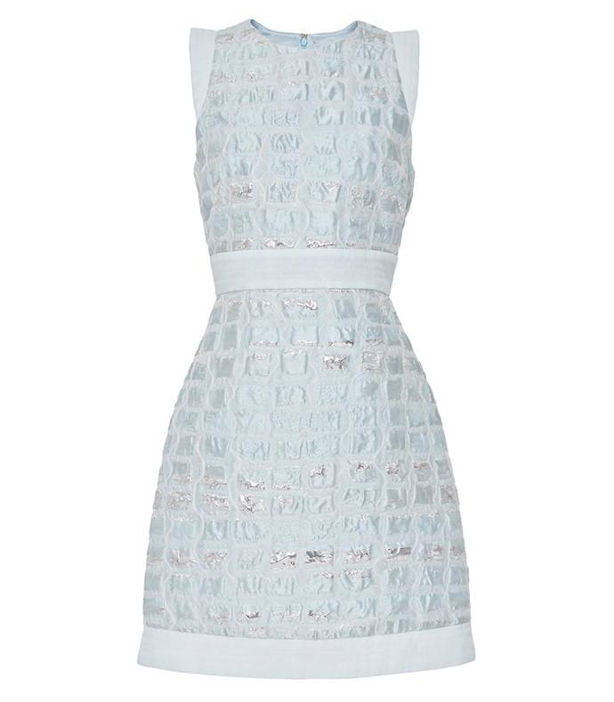 light blue embossed jacquard dress
